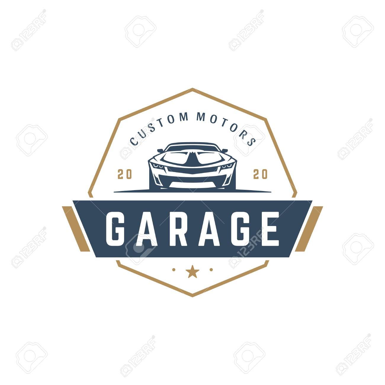 Muscle Car Logo Template Vector Design Element Vintage Style Stock