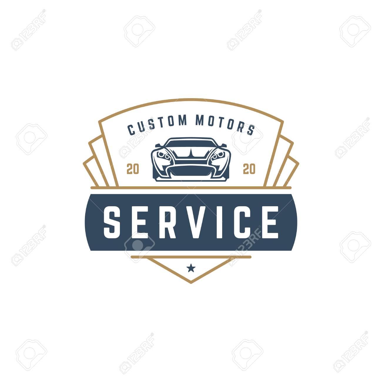 Muscle Car Logo Template Vector Design Element Vintage Style ...