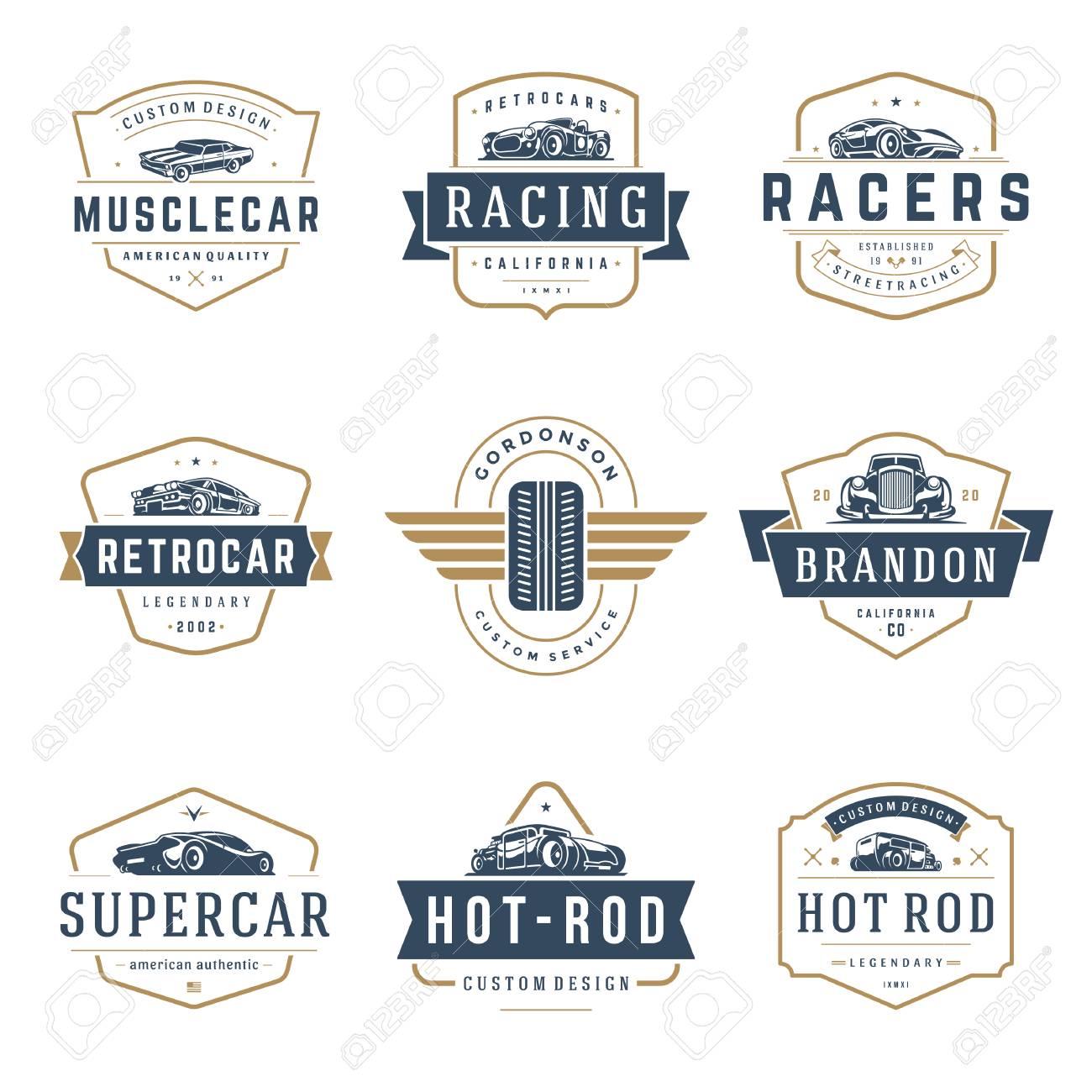 Car Logos Templates Vector Design Elements Set Vintage Style