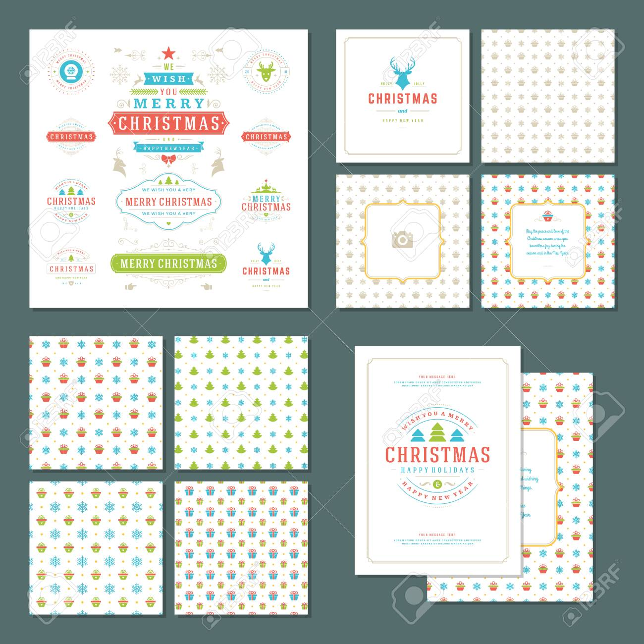 Christmas Labels And Badges Vector Design Elements Set And Greeting
