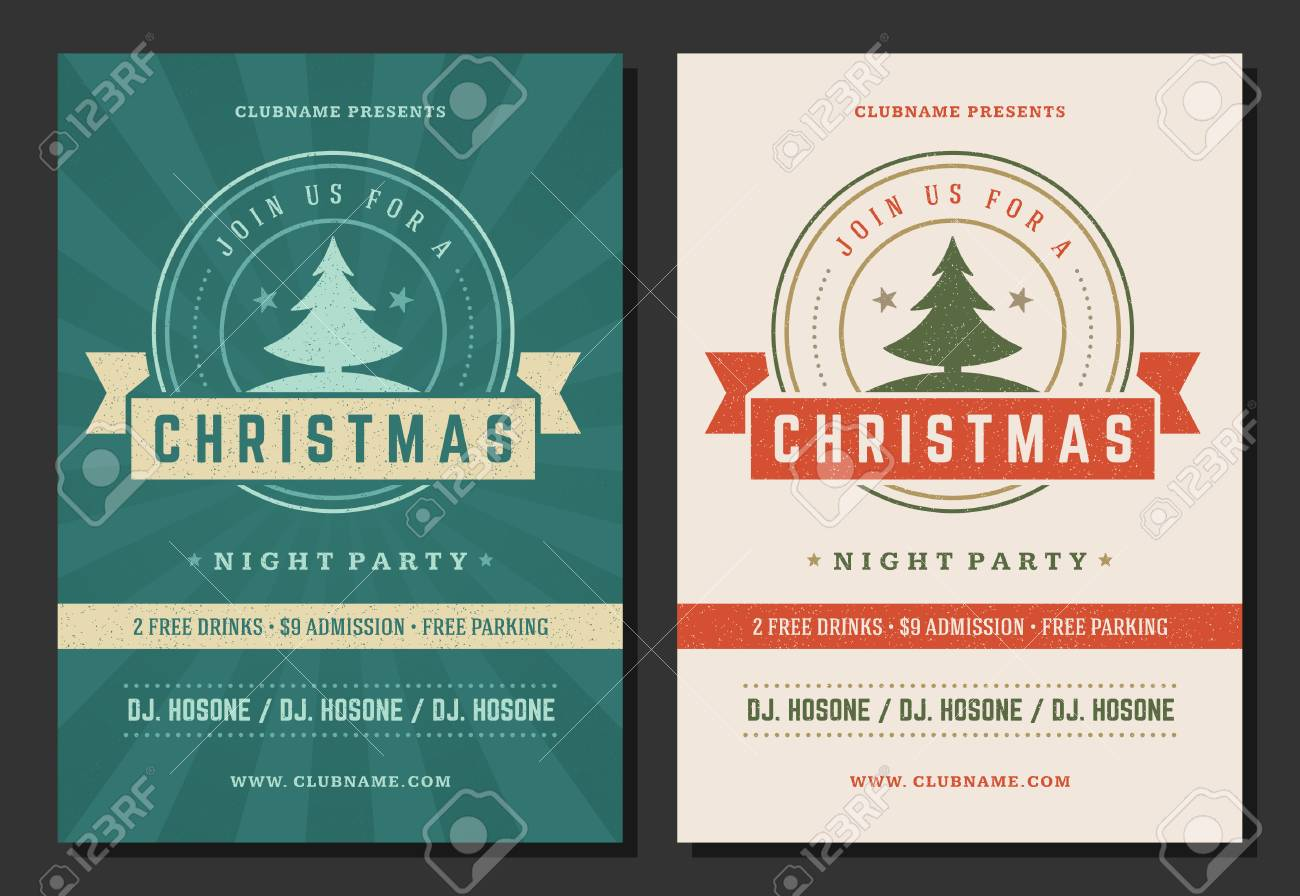 Christmas Party Invitation Retro Typography And Decoration Elements ...