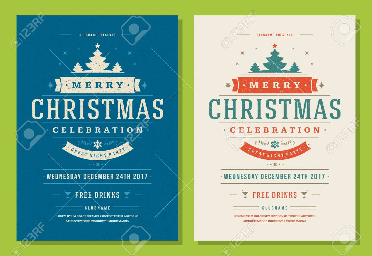 christmas party invitation retro typography and decoration elements