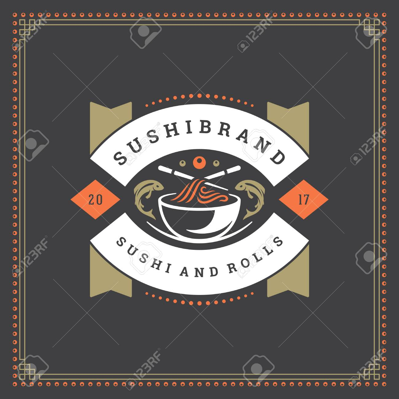 Sushi Restaurant Logo Vector Illustration Japanese Food Ramen Royalty Free Cliparts Vectors And Stock Illustration Image 95720477