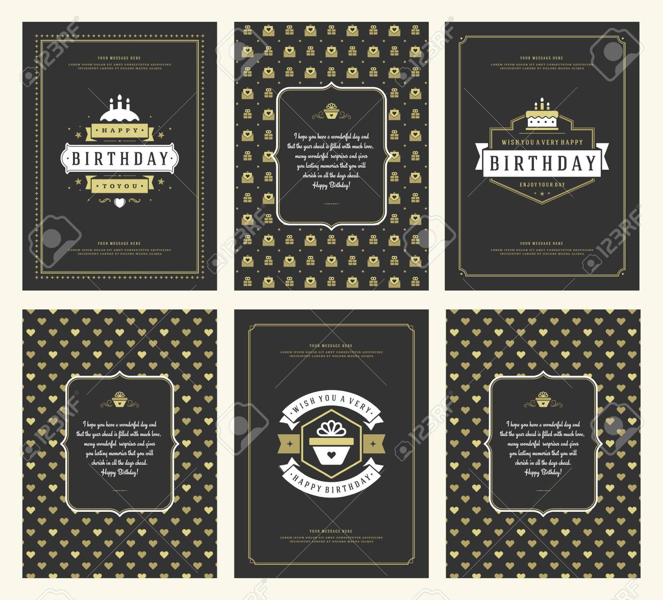 Happy Birthday Greeting Cards Typographic Design Set Vector Illustration Vintage Badge Or Label With