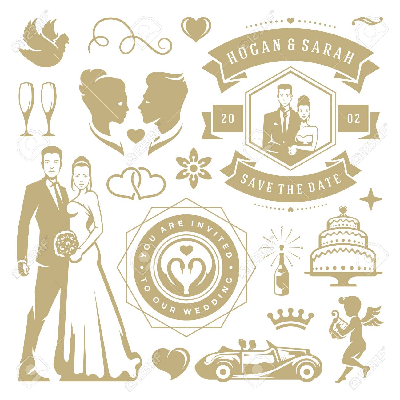 Wedding vector design elements and objects set vintage save vector wedding vector design elements and objects set vintage save the date labels and badges decoration ornaments and icons junglespirit Images