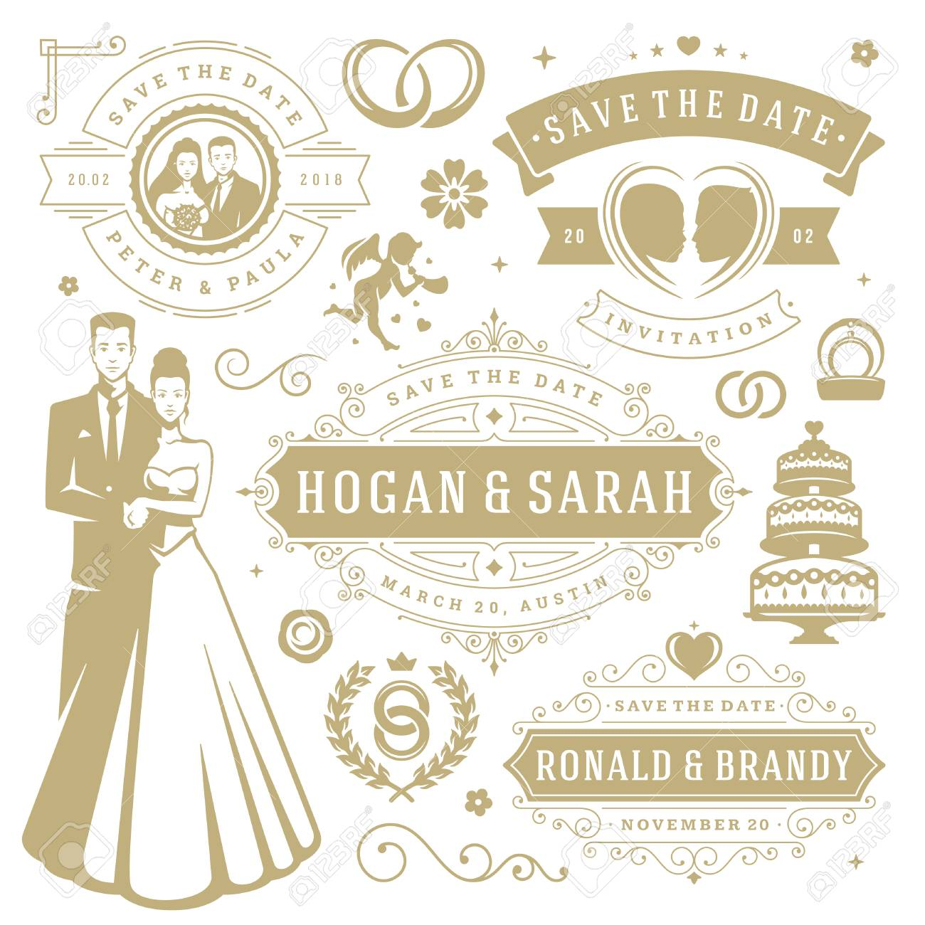 Wedding vector design elements and objects set vintage save vector wedding vector design elements and objects set vintage save the date labels and badges decoration ornaments and icons junglespirit Choice Image