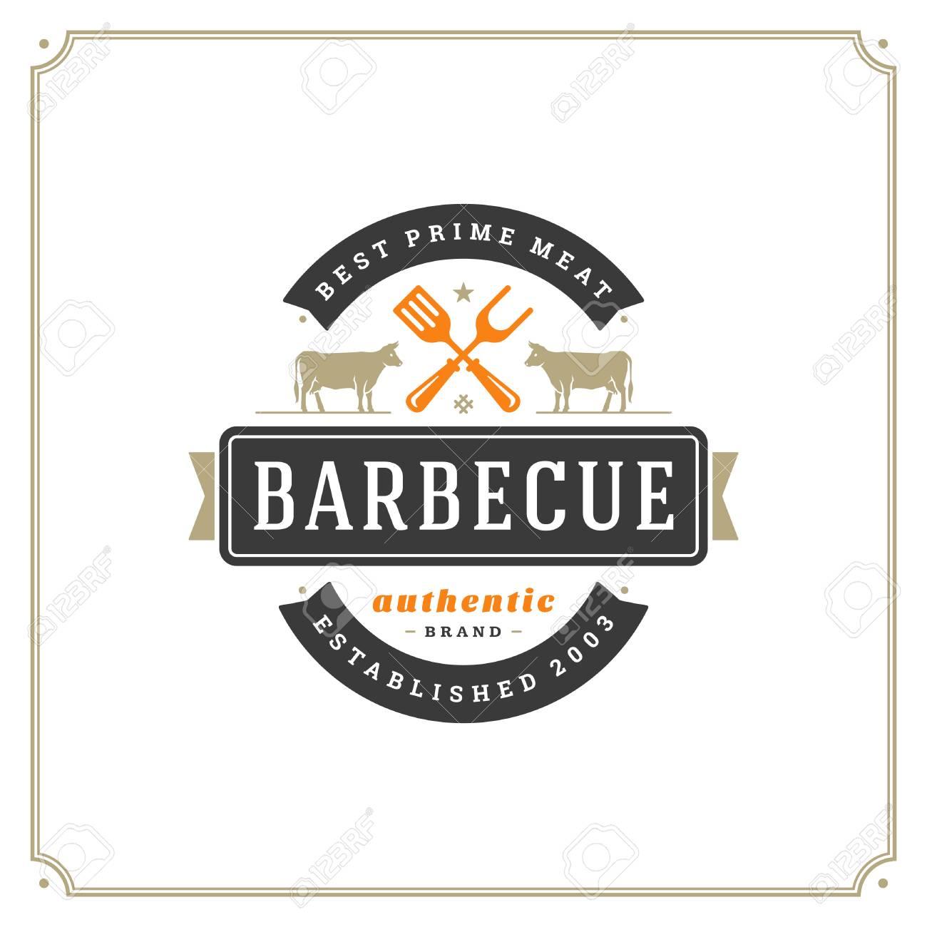 Parrilla Restaurante Logo Ilustracion Vectorial Barbacoa Steak House Menu Emblema Vacas Siluetas Diseno De Insignia De Tipografia Vintage Ilustraciones Vectoriales Clip Art Vectorizado Libre De Derechos Image 98028175