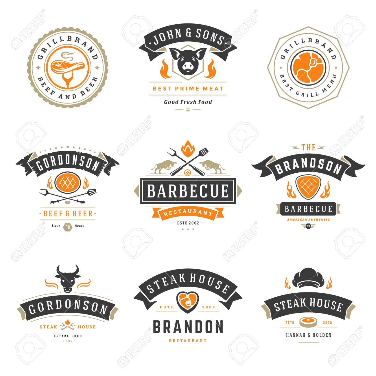 Barbecue Restaurant Logos And Badges Set Vector Illustration Royalty Free Cliparts Vectors And Stock Illustration Image 98028180
