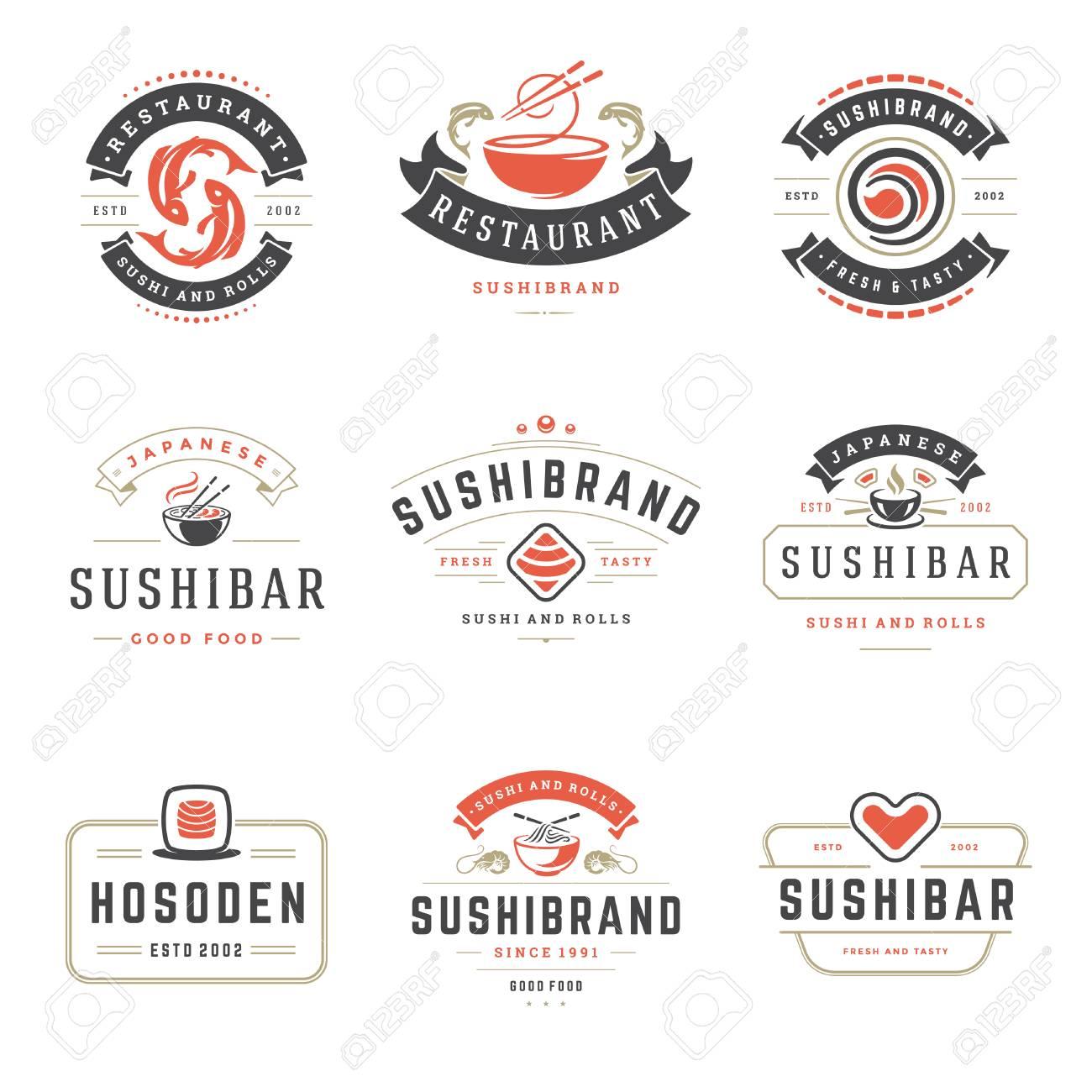 Los Logotipos Del Restaurante De Sushi Establecen Ilustracion Vectorial Comida Japonesa Sushi Y Rollos Siluetas Diseno De Insignias De Tipografia Vintage Ilustraciones Vectoriales Clip Art Vectorizado Libre De Derechos Image 98029797