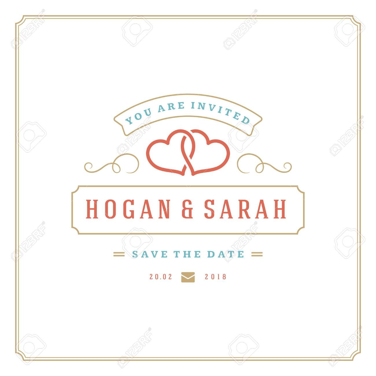Wedding Save The Date Invitation Card Vector Illustration. Wedding ...