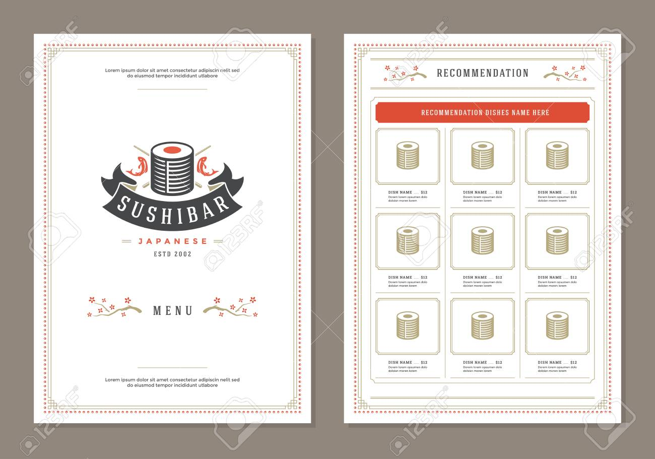 sushi restaurant menu design and vector brochure template roll