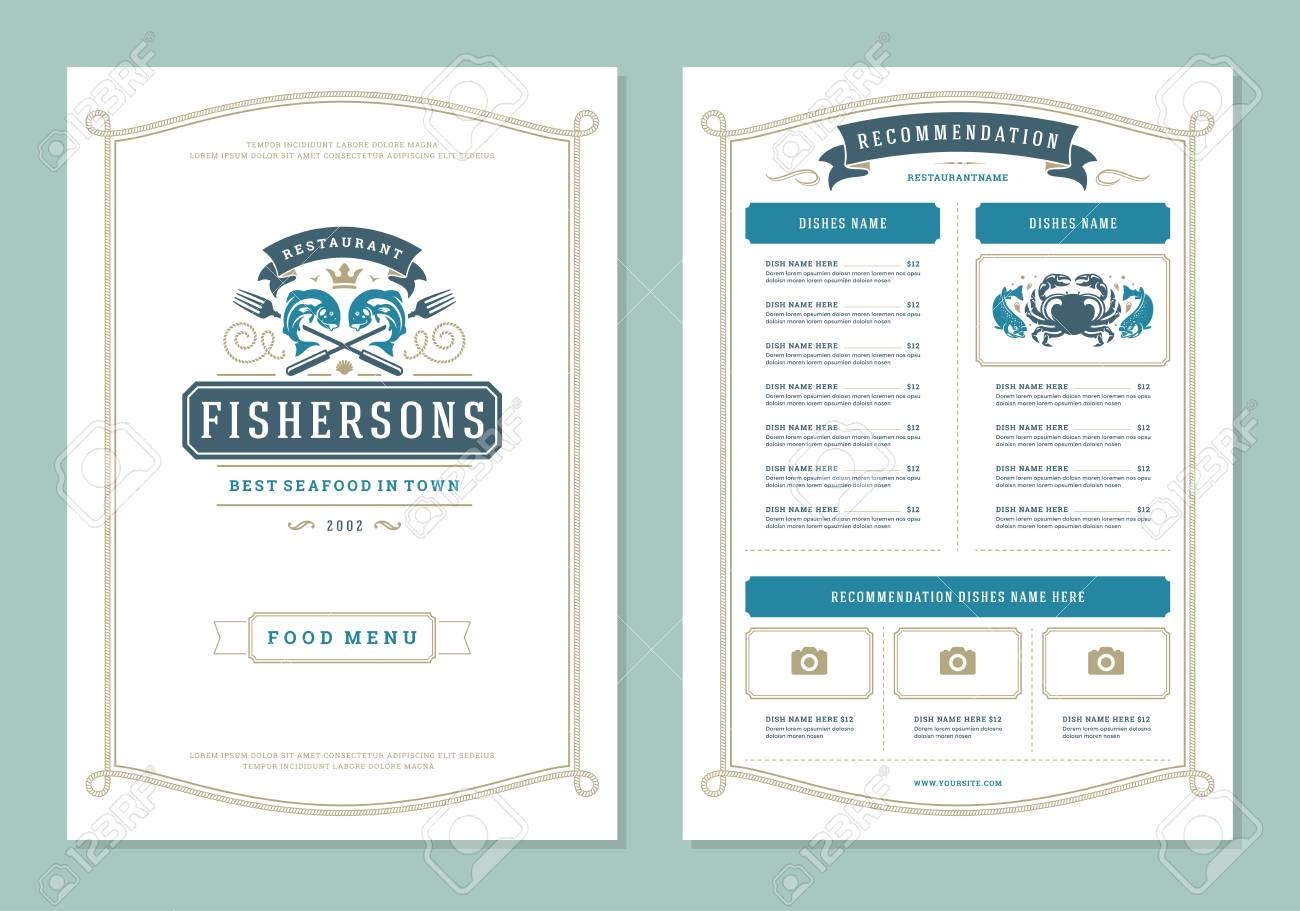 Seafood Restaurant Menu Design And Vector Brochure Template Royalty Free Cliparts Vectors And Stock Illustration Image 100501321