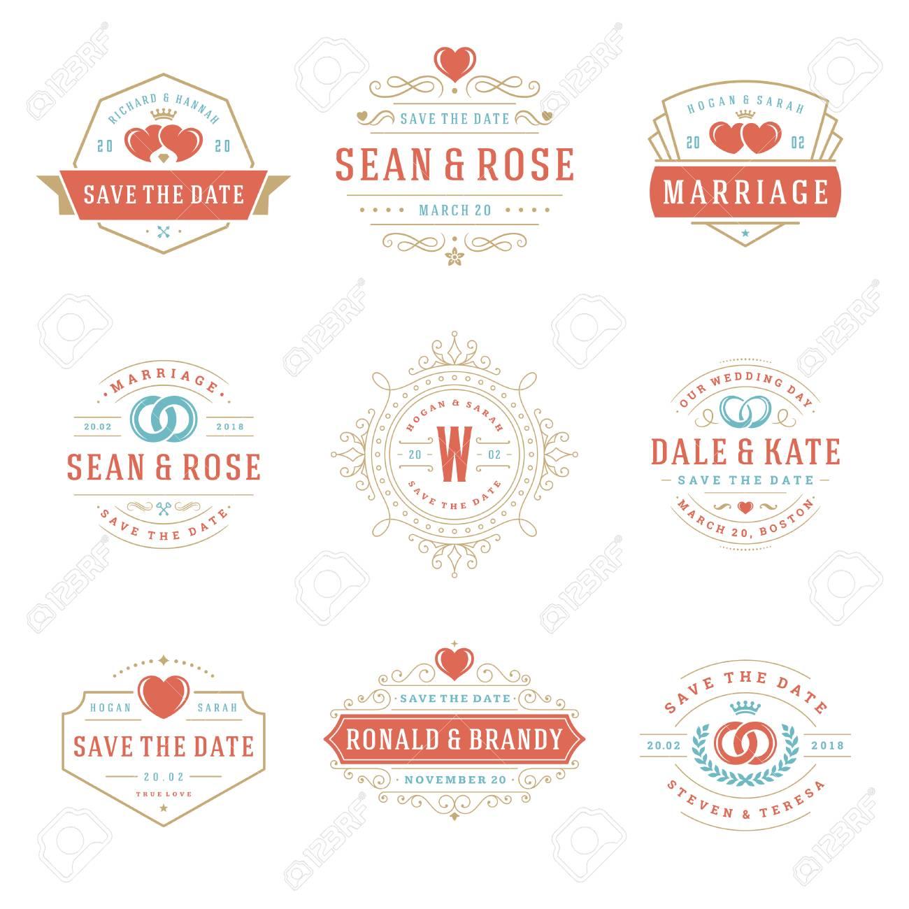 Wedding Logos And Badges Vector And Design Elements Set. Vintage ...