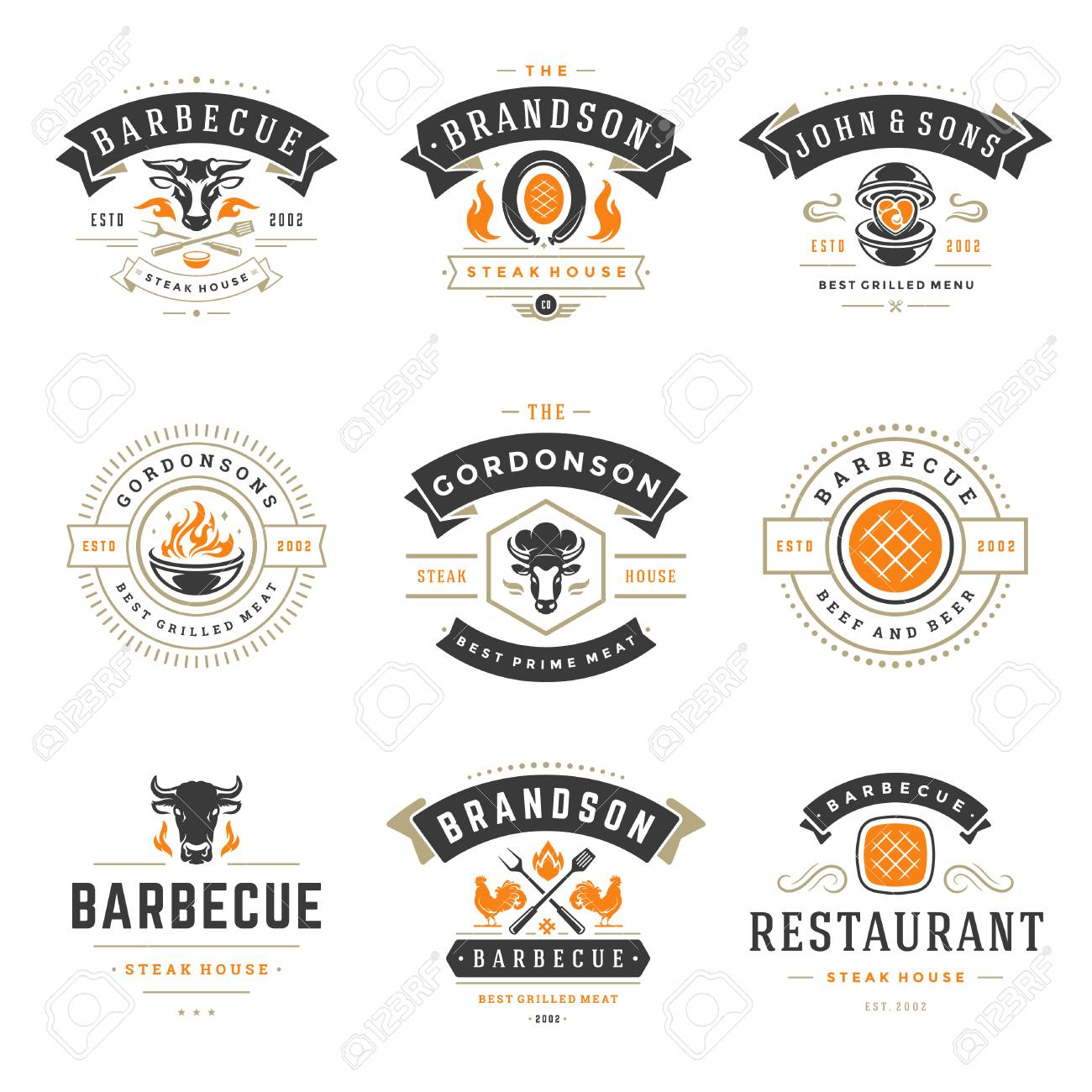 Grill Restaurant Logos And Badges Set Vector Illustration Barbecue
