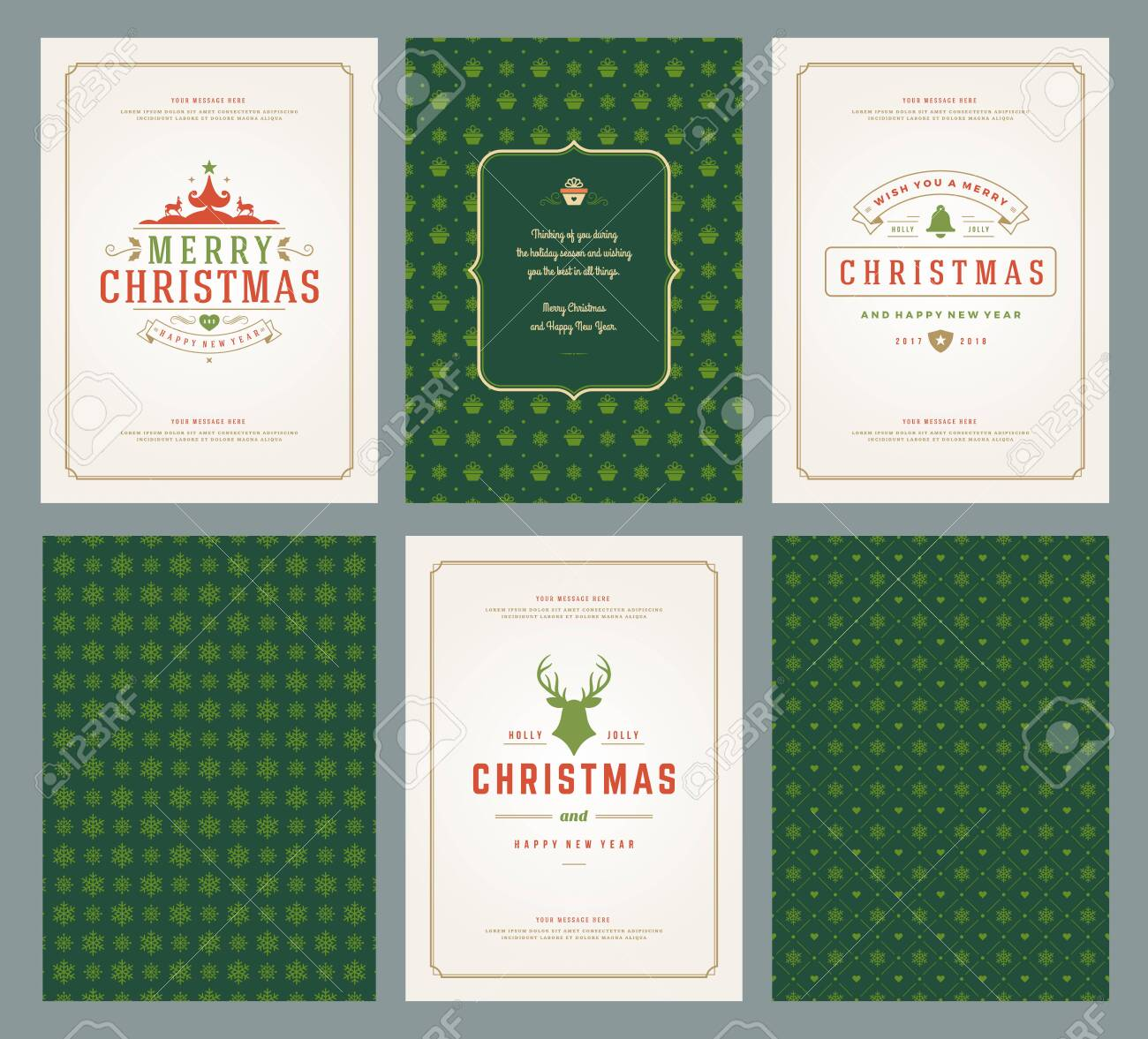 Merry Christmas greeting cards templates and patterns backgrounds, with place for Christmas holidays wish typographic design.Vector illustration. - 122108553