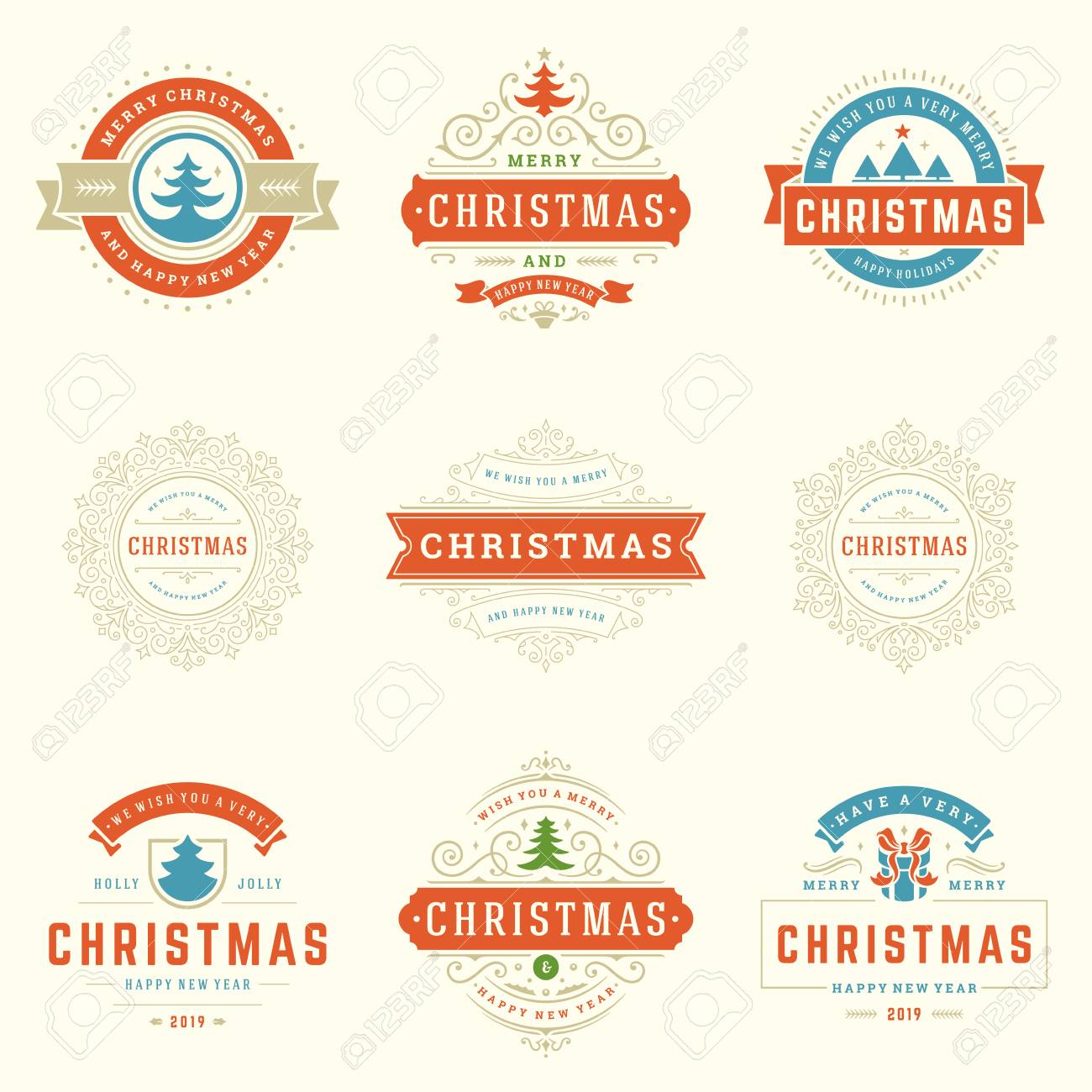 Merry Christmas Labels.Christmas Labels And Badges Vector Design Elements Set Merry