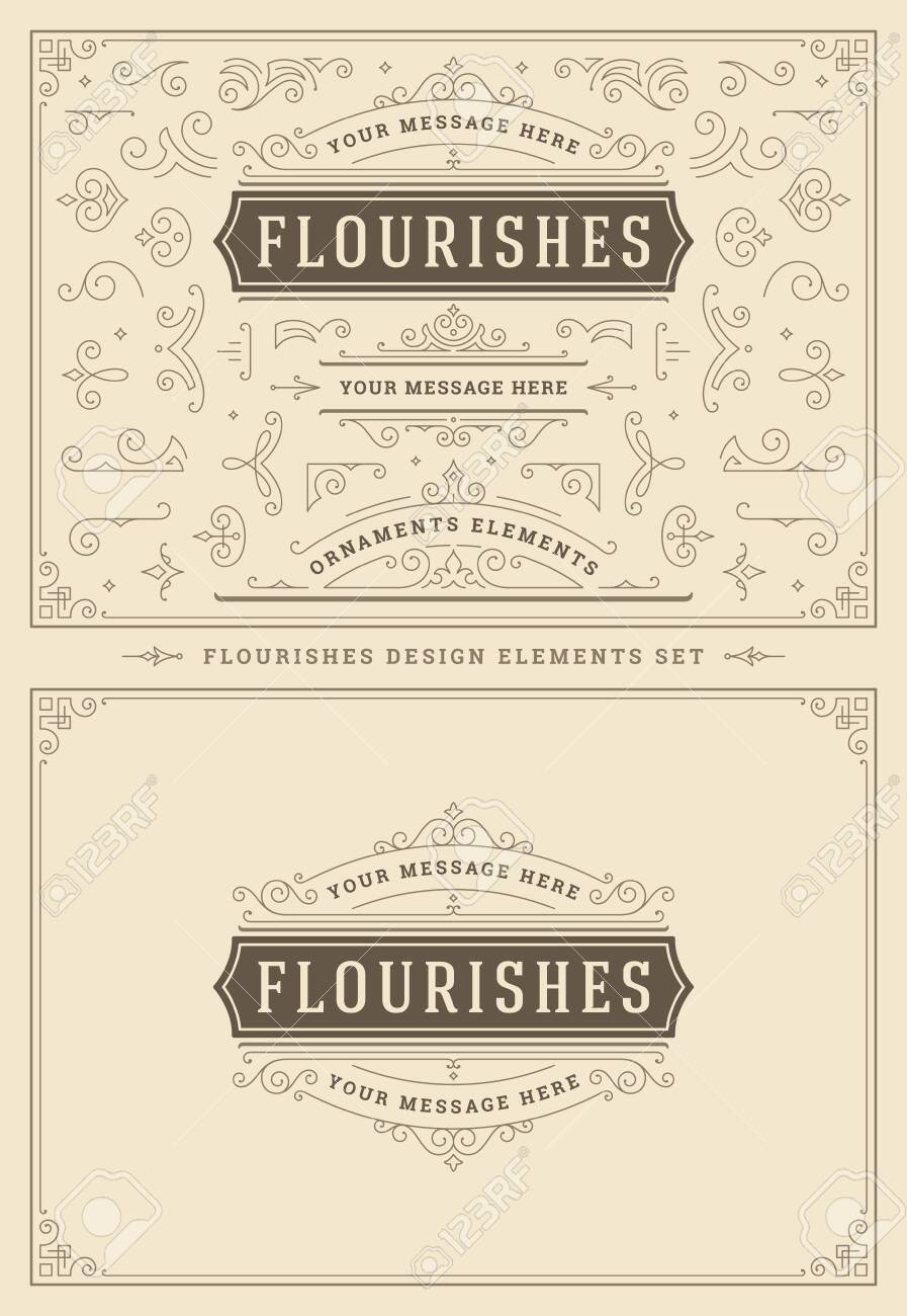 Vintage ornaments swirls and scrolls decorations design elements. Flourishes calligraphic combinations for retro logos, greeting cards, royal crests, frames and Invitations. - 122108674