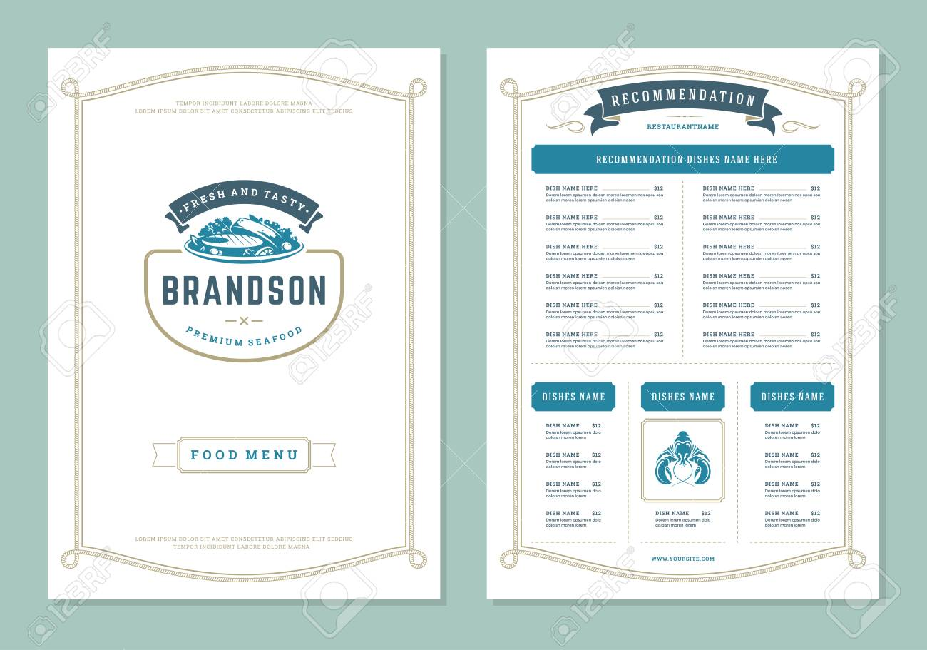 Seafood Restaurant Menu Design And Logo Vector Brochure Template Royalty Free Cliparts Vectors And Stock Illustration Image 115705076