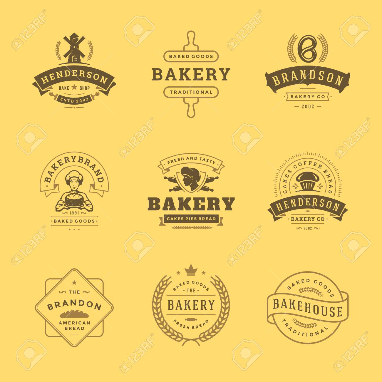 Bakery icon and badges design templates set illustration good for bakery shop and cafe emblems. - 130303872
