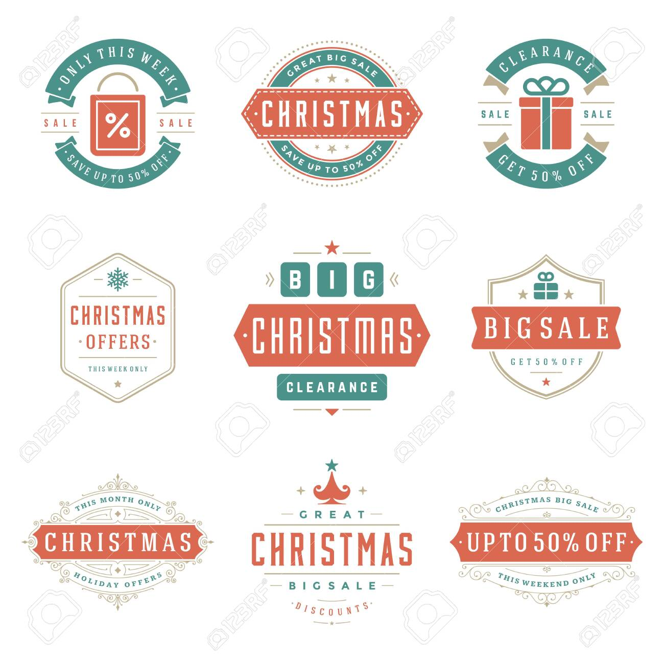 Christmas sale labels and badges with text typographic decoration design vector vintage style set - 131198635