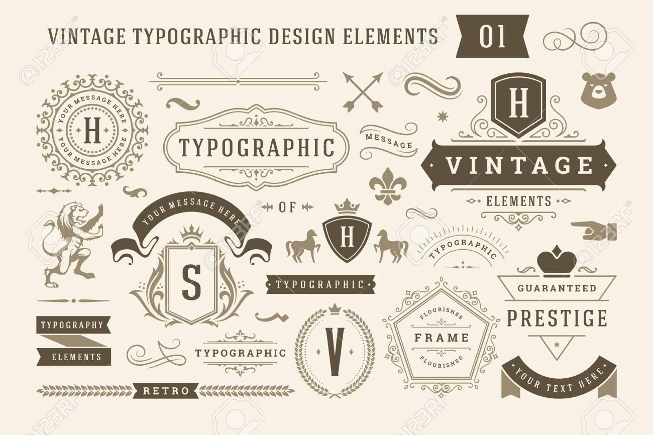 Vintage typographic design elements set illustration. - 133412547