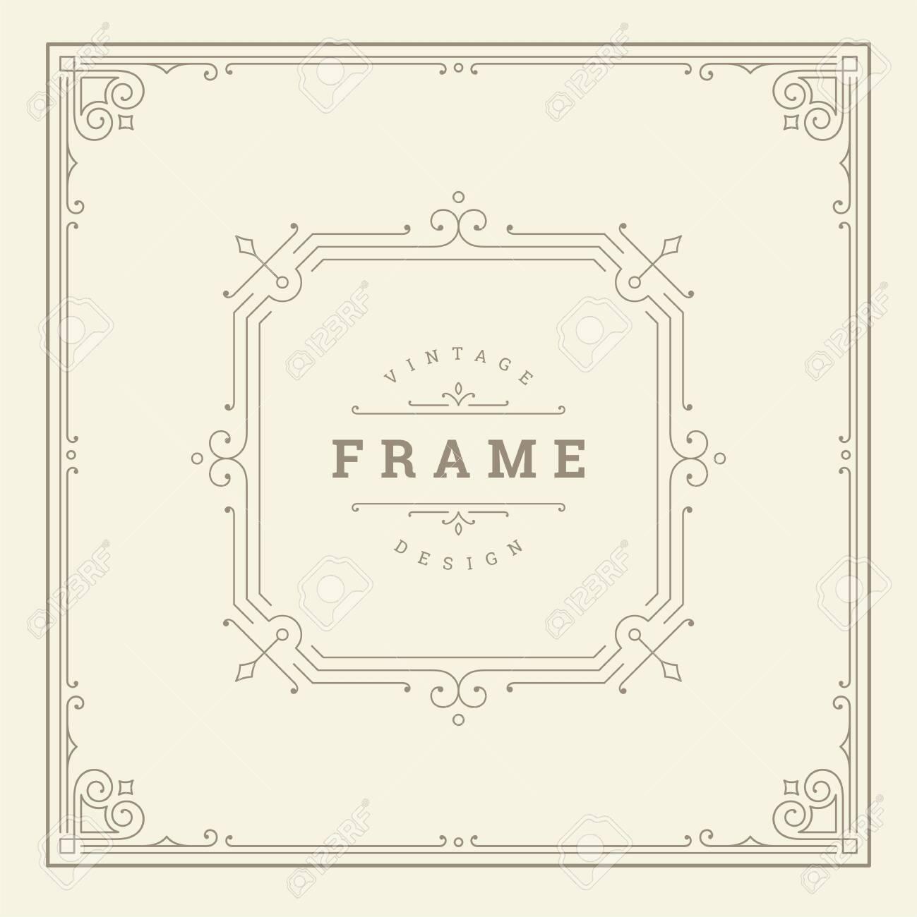 Vintage flourishes ornament swirls lines frame template - 136722278