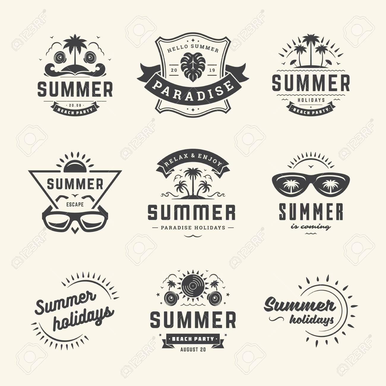 Summer holidays labels and badges retro typography design set. - 151009168