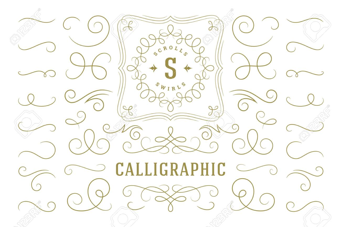 Calligraphic design elements vintage ornaments swirls and scrolls ornate decorations vector design elements. - 150977601
