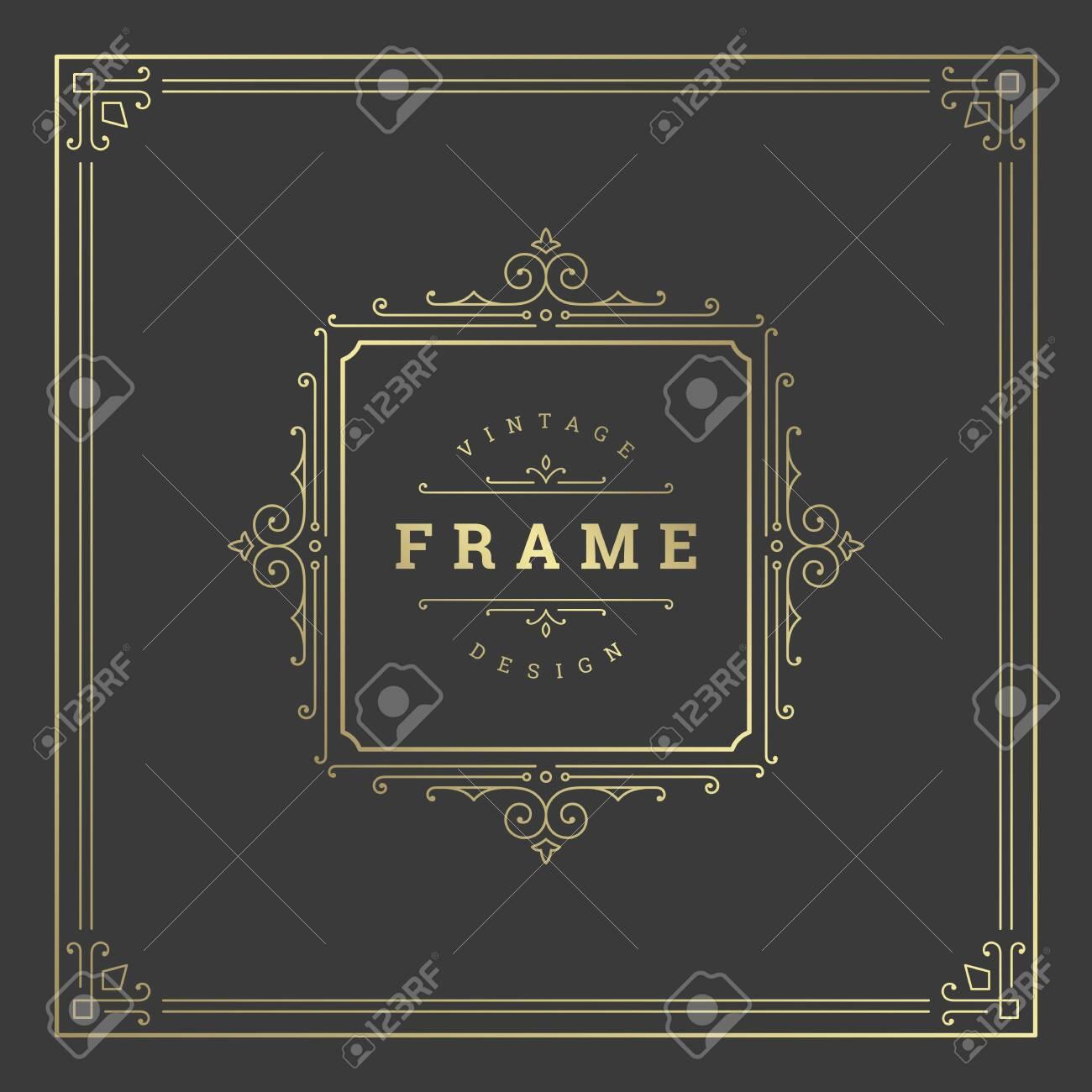 Vintage flourishes ornament swirls lines frame template vector illustration victorian ornate border for greeting cards - 152669765
