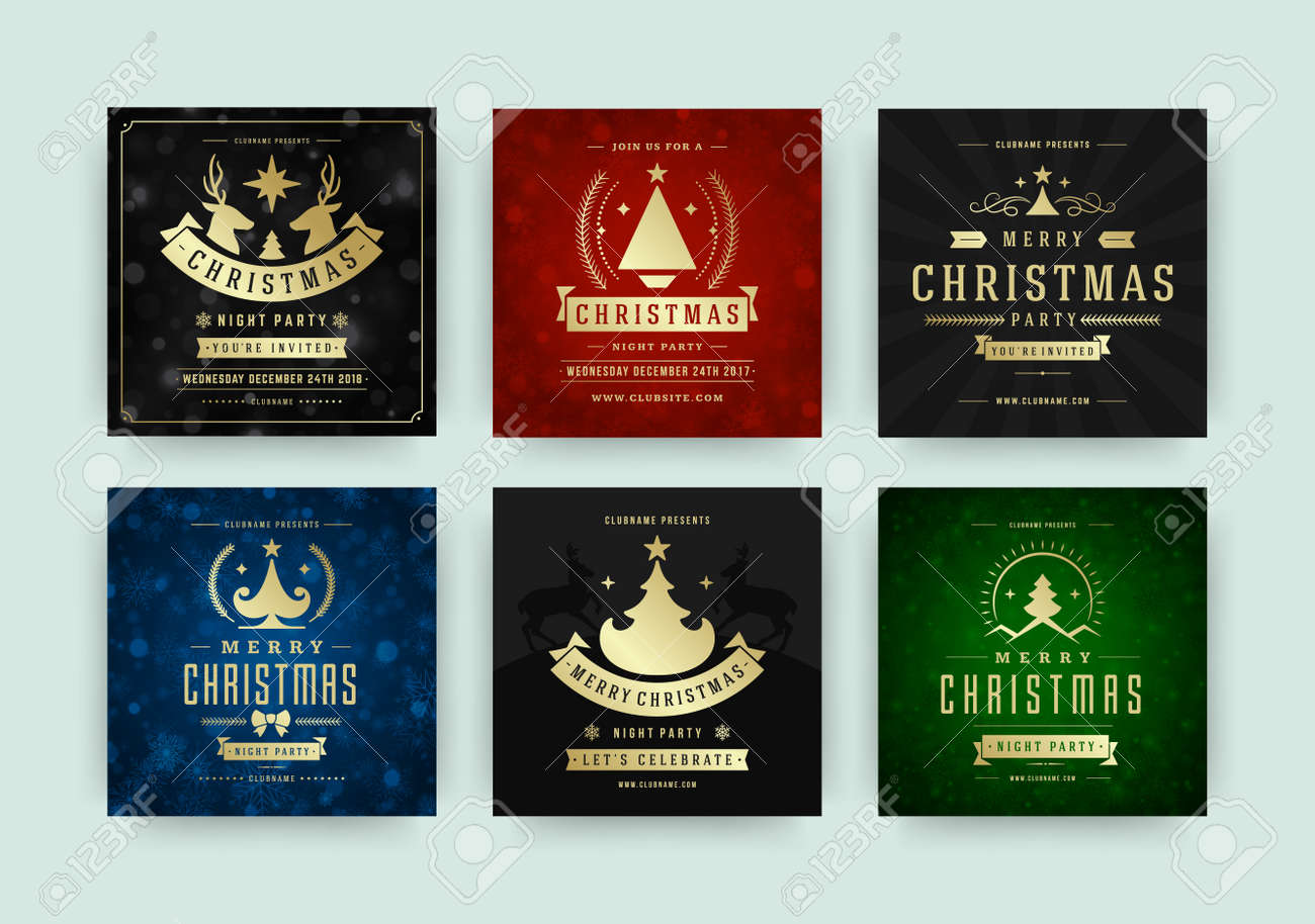 Christmas party web banners for social media mobile apps. - 157029827