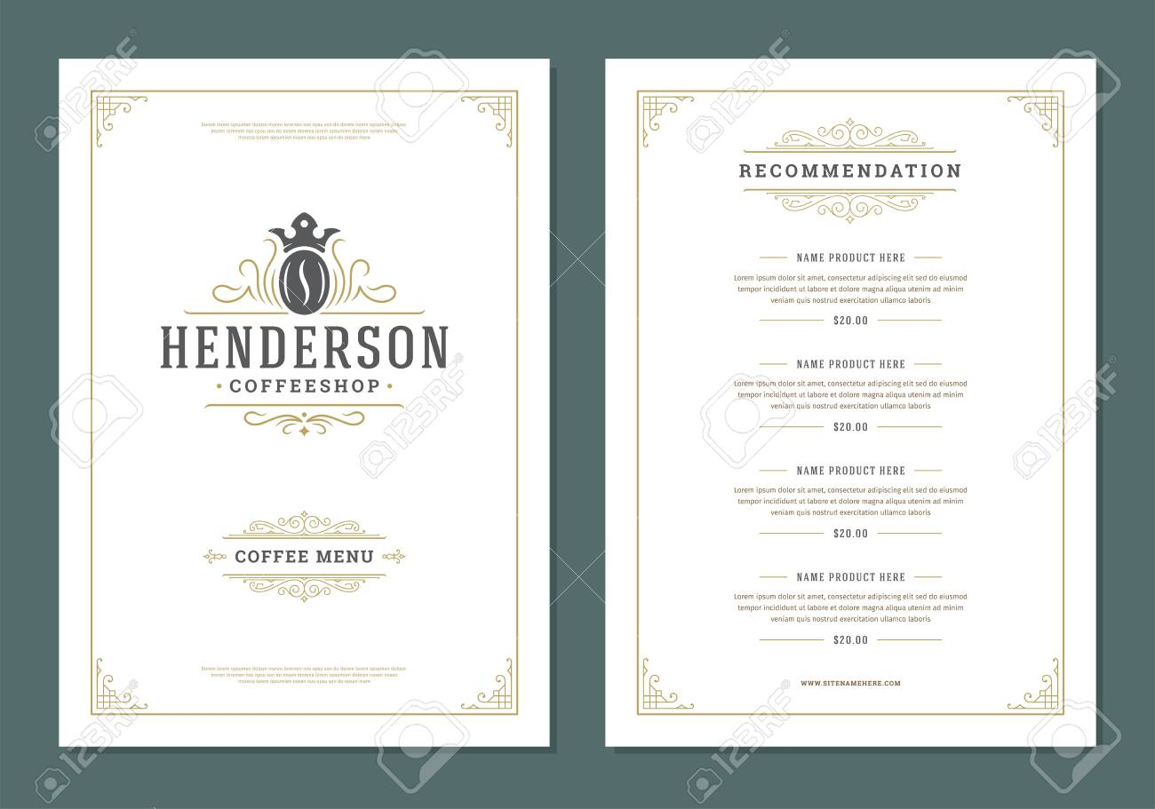 Coffee menu design template flyer for cafe with coffee shop bean symbol and vintage typographic decoration elements - 158507468