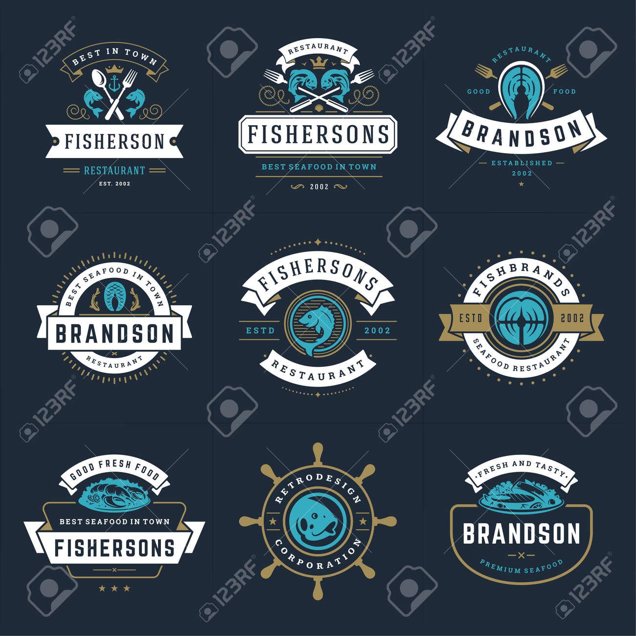 Seafood logos or signs set vector illustration fish market and restaurant emblems templates design - 165594320