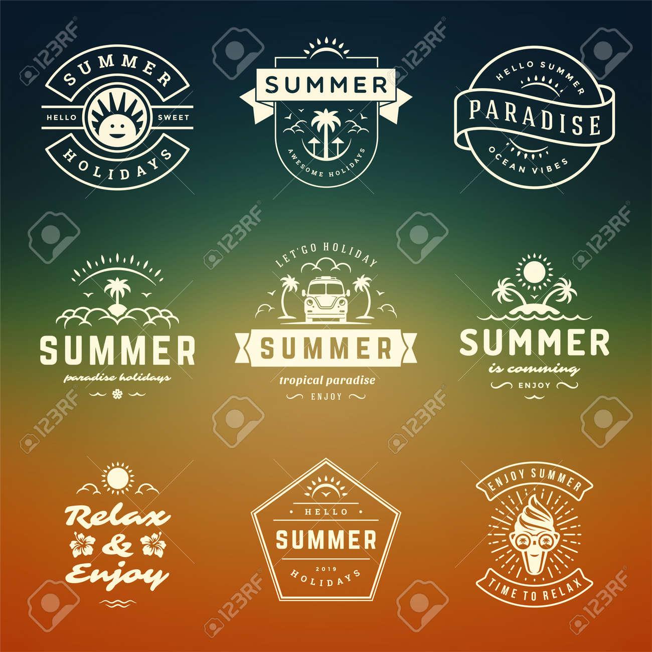 Summer holidays labels and badges retro typography design set. - 166821312