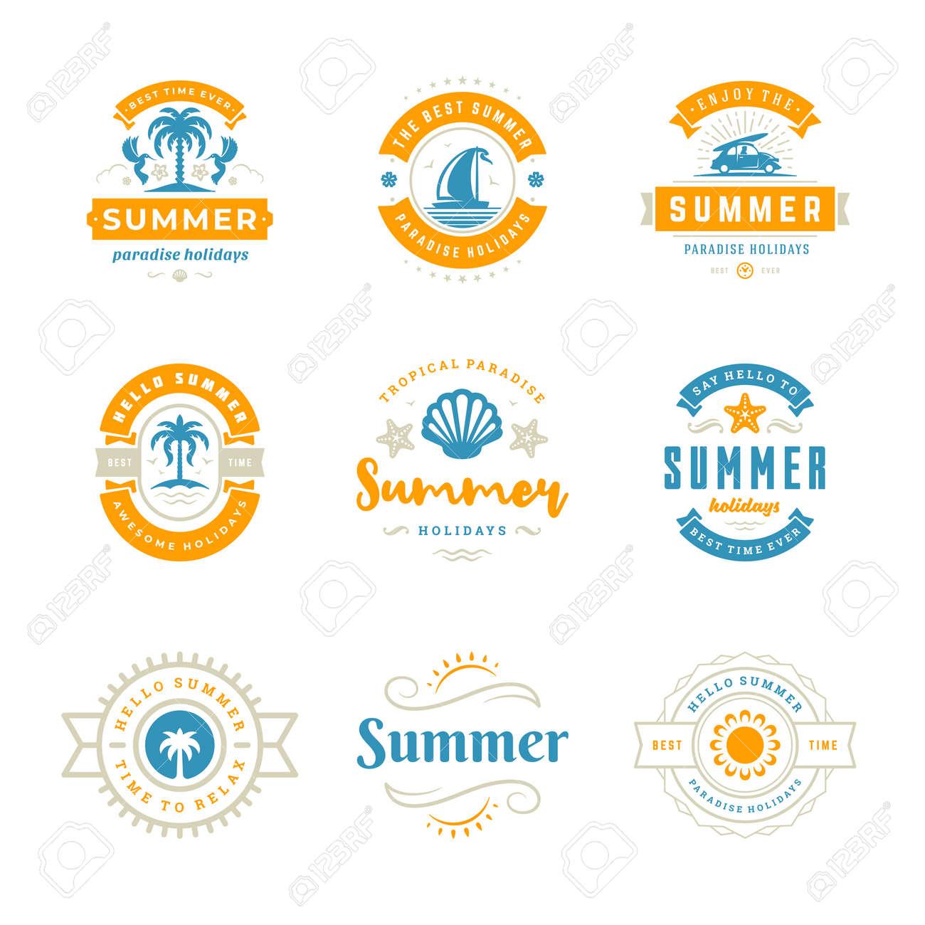 Summer holidays labels and badges retro typography design set. - 169500522