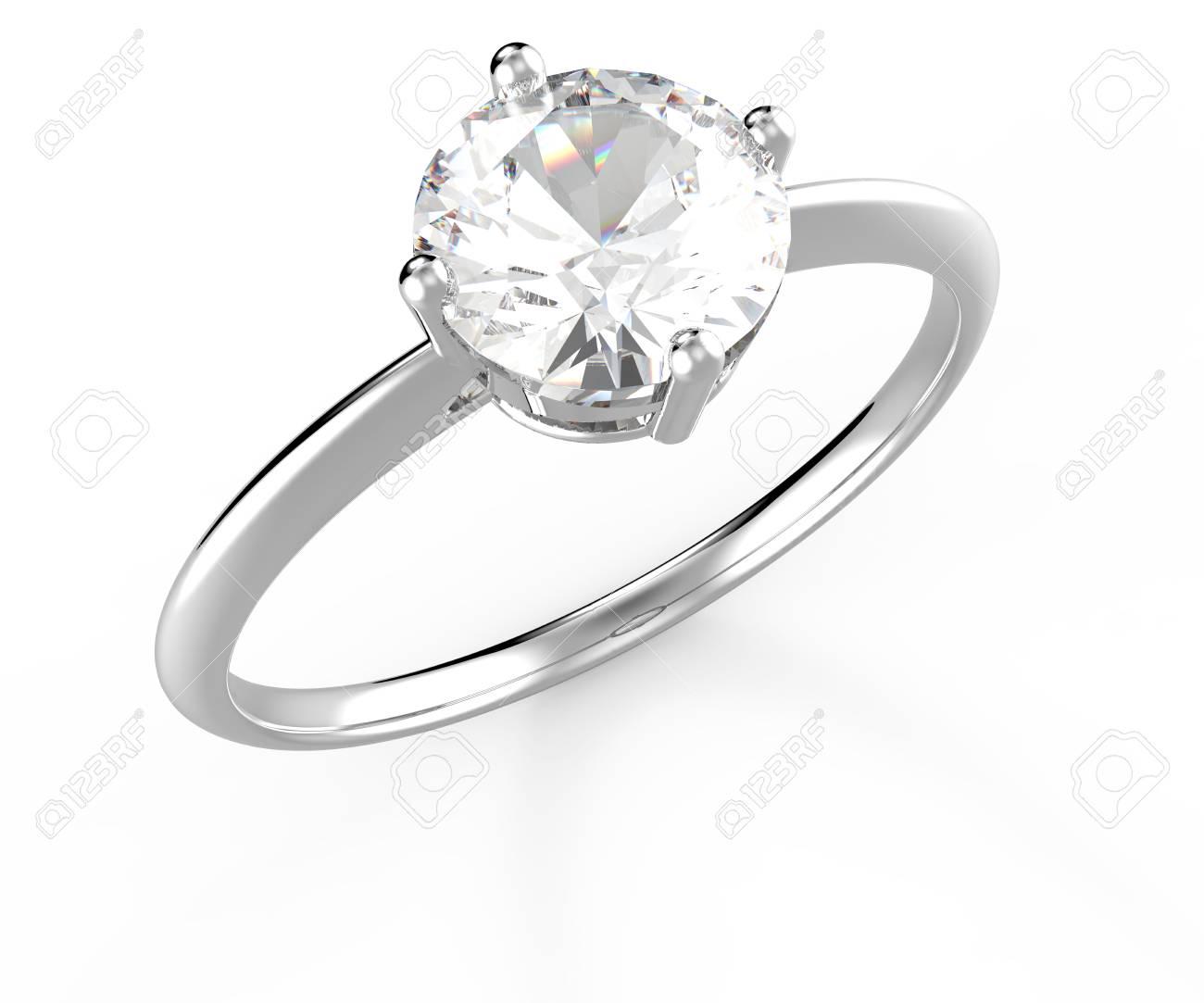 Bague De Mariage Avec Diamant Isole Sur Fond Blanc Illustration 3d