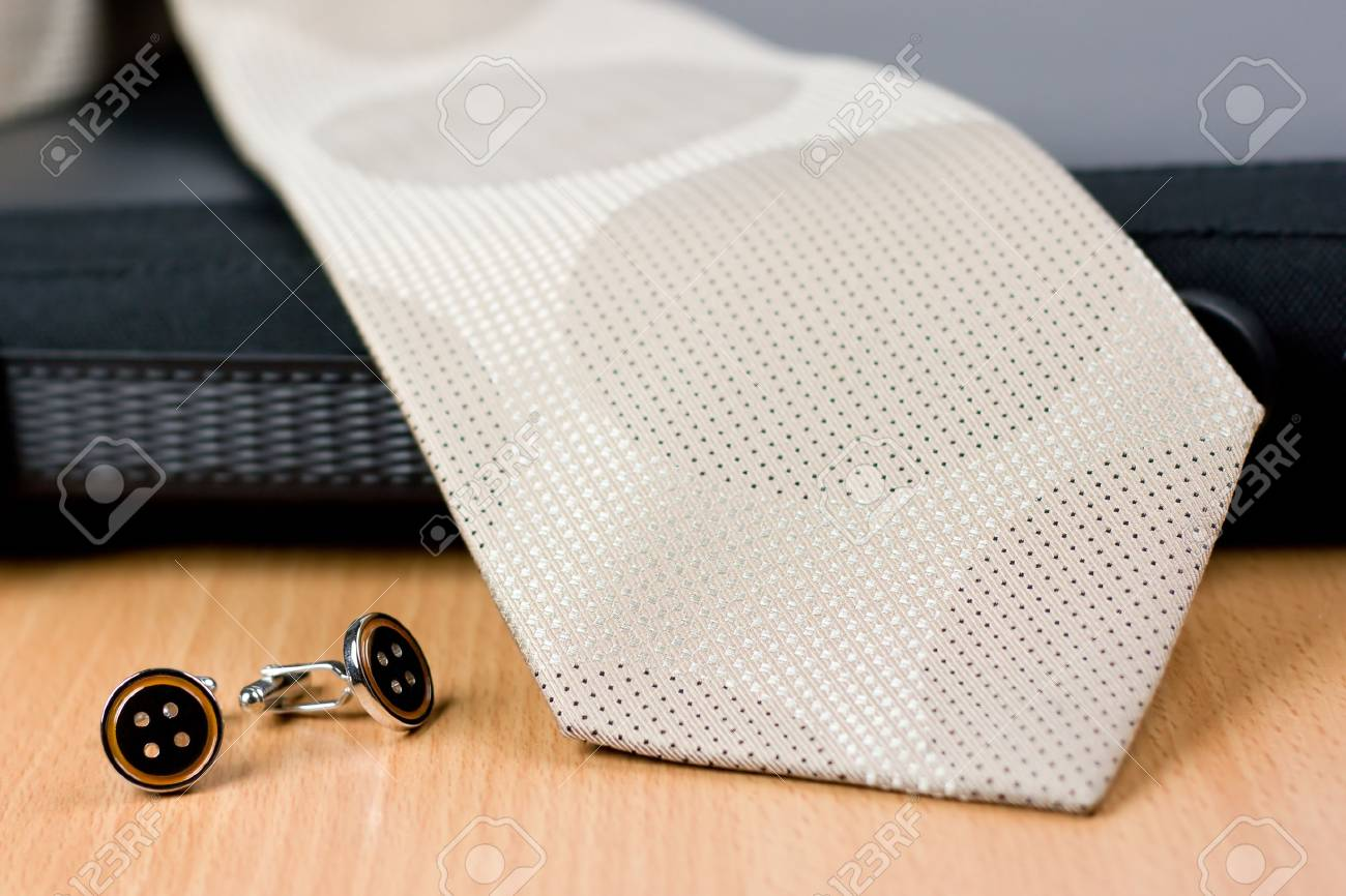 Silver cuff links with tie and black case Stock Photo - 2550192
