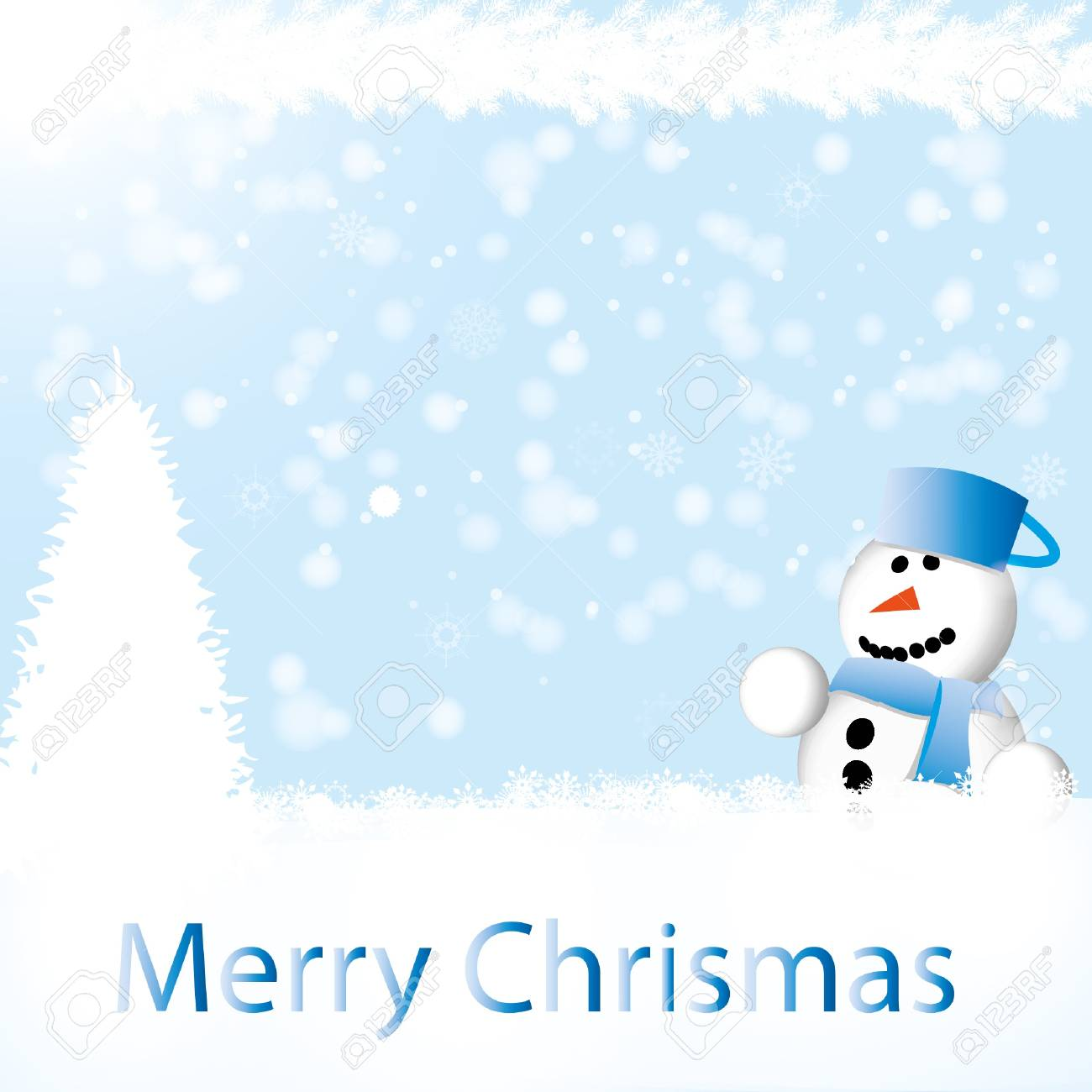Nice winter backdrop with snowman Stock Vector - 16931631