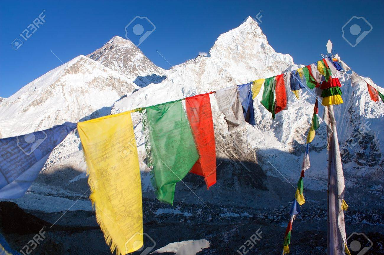 view of Everest with buddhist prayer flags from kala patthar Stock Photo - 12739272