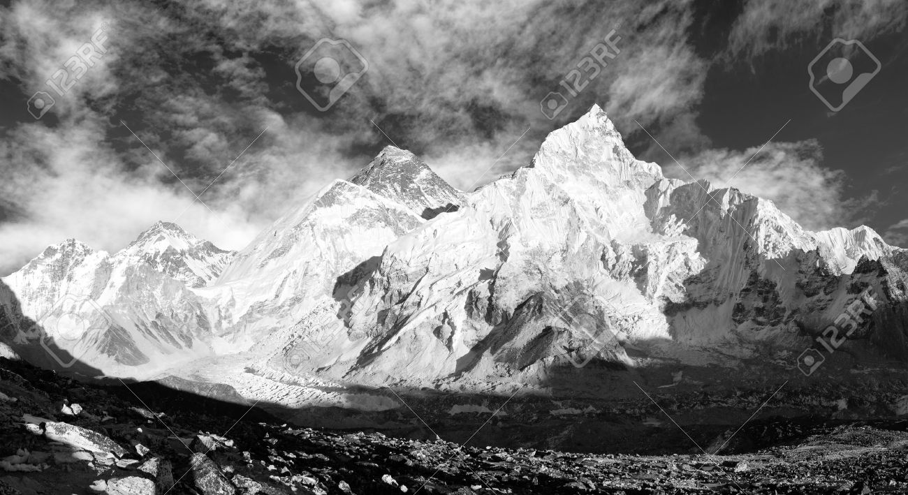 black and white panoramic view of Mount Everest with beautiful sky and Khumbu Glacier - Khumbu valley - Nepal - 18654372