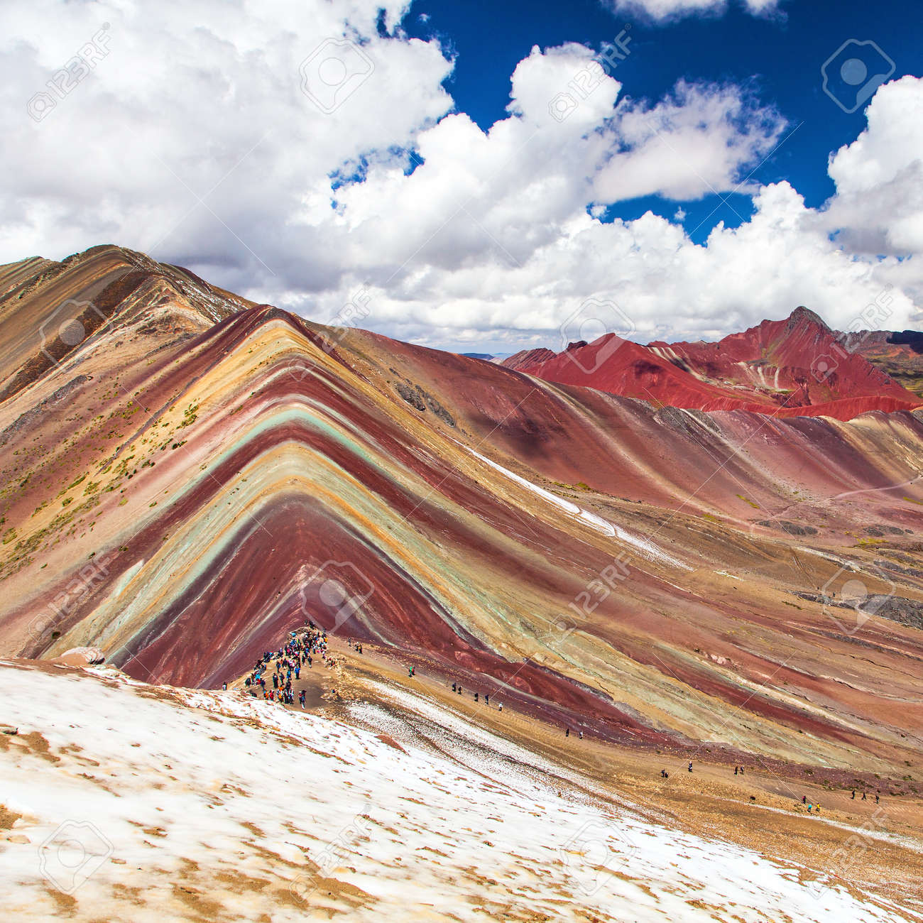 Rainbow mountains or Vinicunca Montana de Siete Colores with people, Cuzco region in Peru, Peruvian Andes, panoramic view - 158475321