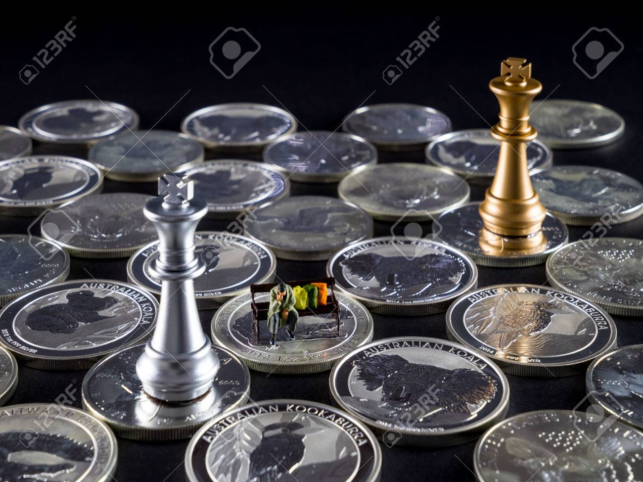 Silver Chessboard Silver And Gold Chess Silver Coins With Black