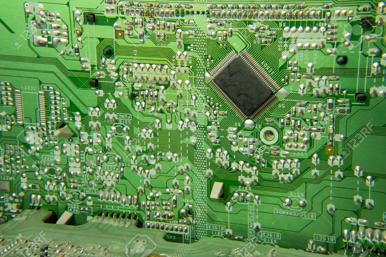 Green Printed Circuit Board Conductor Detail Stock Photo Of A Royalty Free Image 77459242