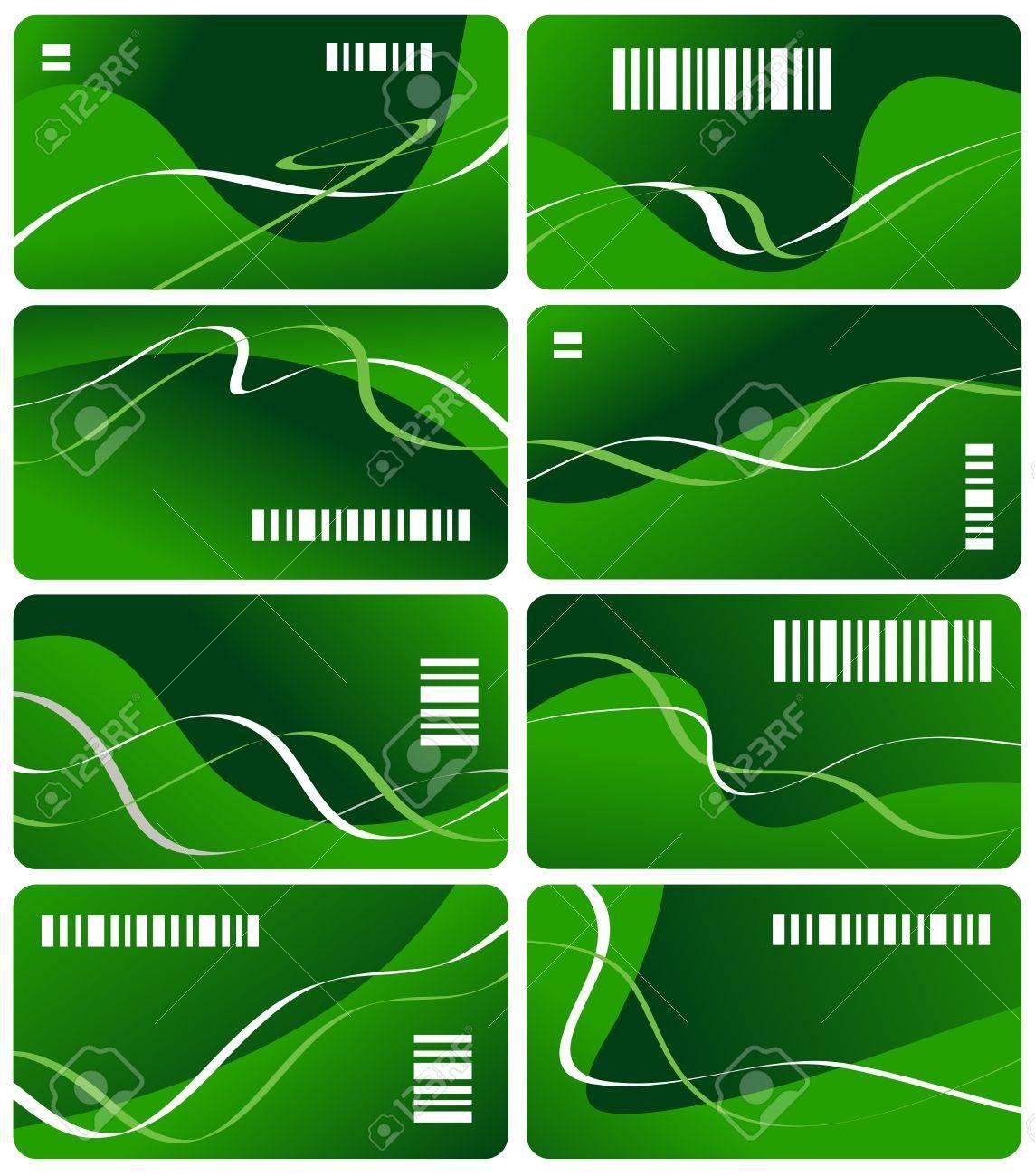 Huit Cartes De Visite Couleur Verte Avec Code A Barres Banque D