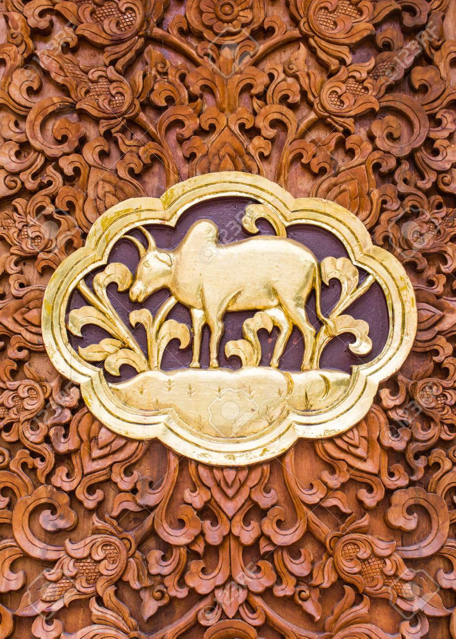 Cow Wood Carving Wall Sculptures In Thai Temple Stock Photo, Picture ...