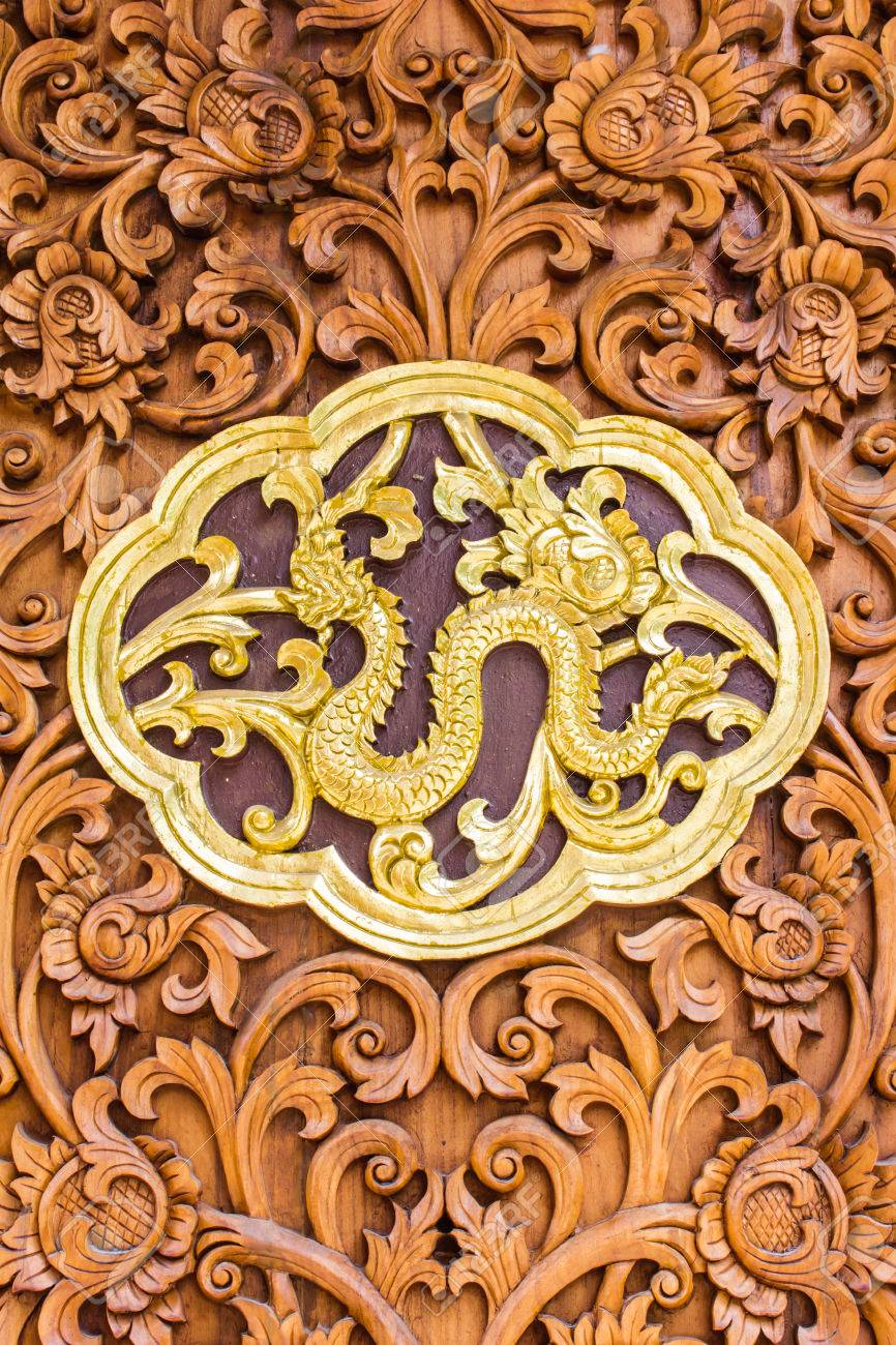 Naga Wood Carving Wall Sculptures In Thai Temple Stock Photo ...