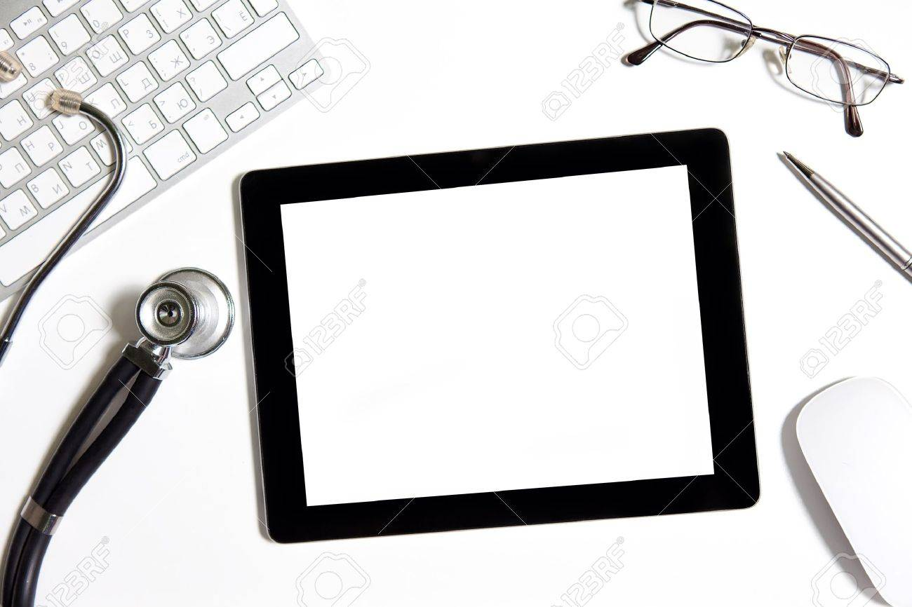 tablet on the table in the doctor office Stock Photo - 17307670