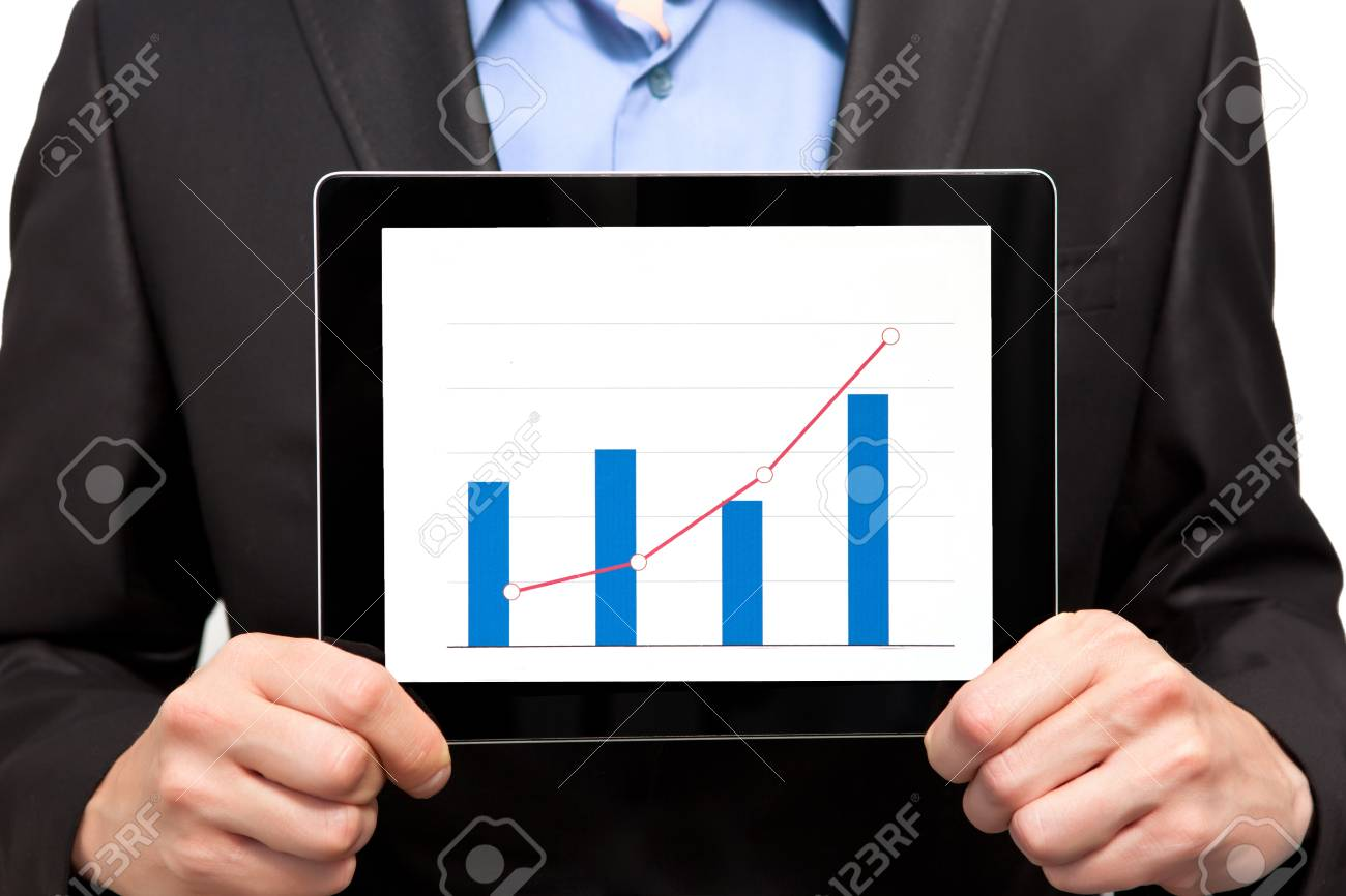 Businessman holding a tablet with an insulated screen Stock Photo - 17388796