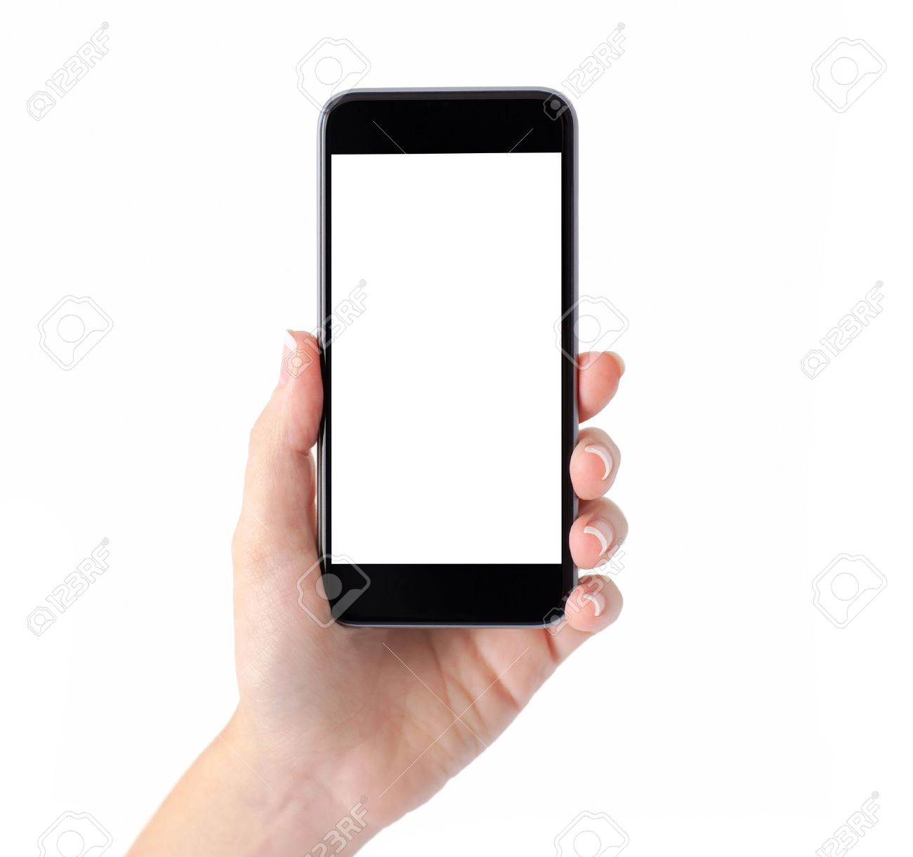 Isolated female hand holding a phone with white screen - 33668086