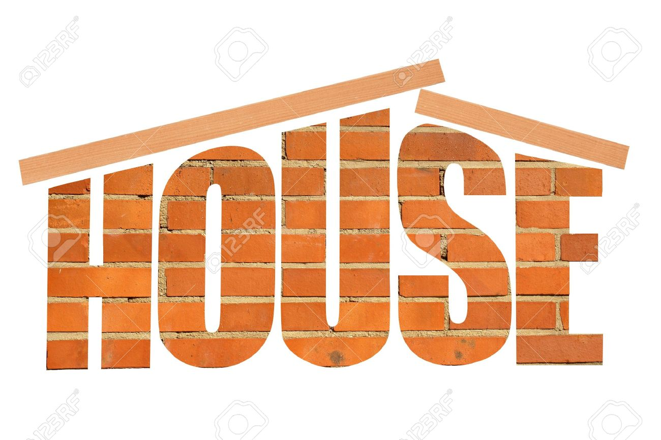 House Word Made Up Of Brick Texture And Wooden Beam As Roof Stock ...