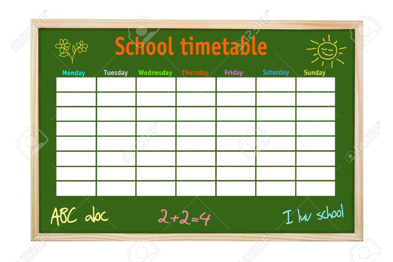 Verde Bordo En Marco De Madera Con La Escuela Y El Calendario ...